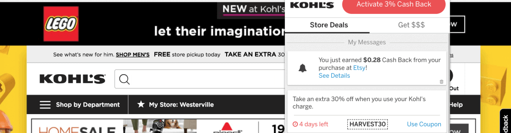 Screenshot of Ebates shopping trip at Kohl's