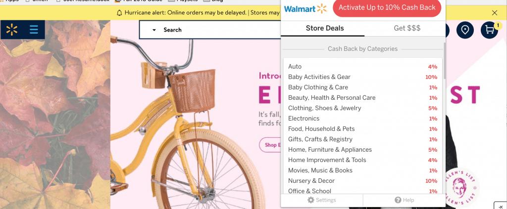 Screenshot of Ebates cash back available at WalMart