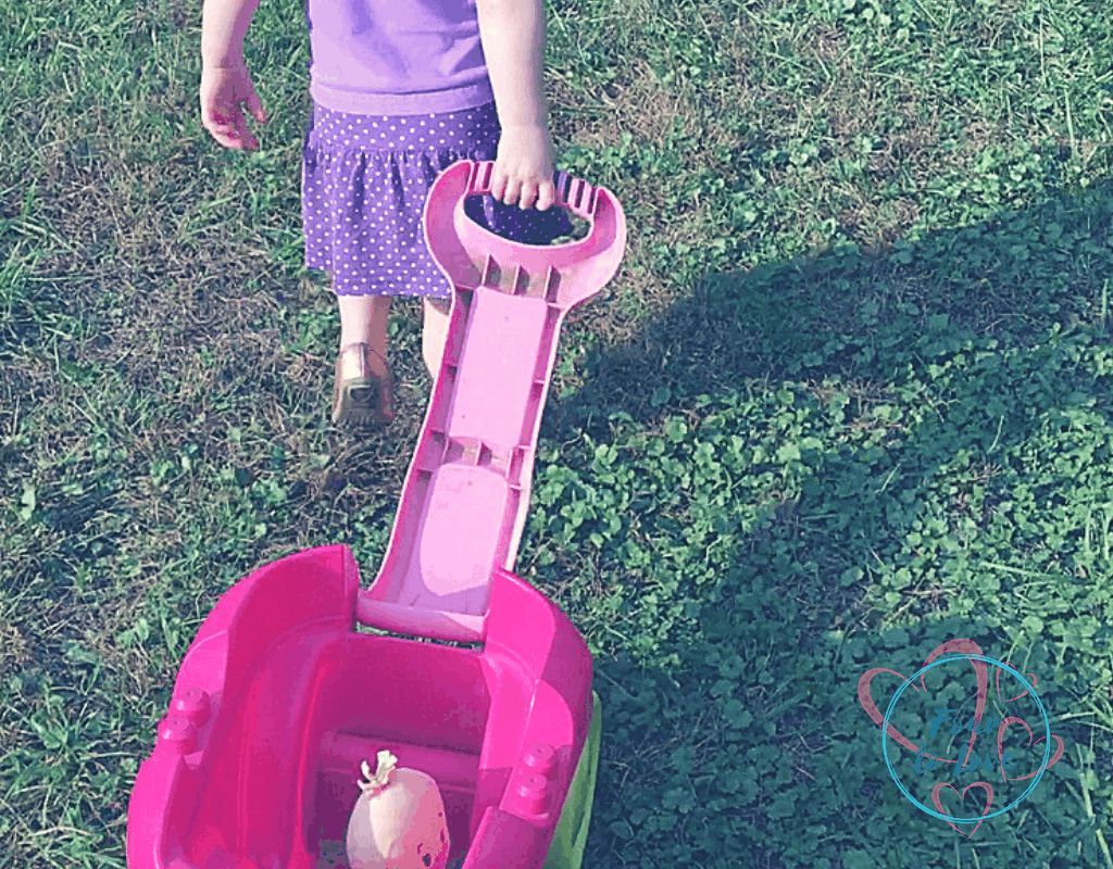 Toddler pulling a wagon