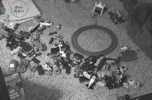 Mess of toys on the living room floor