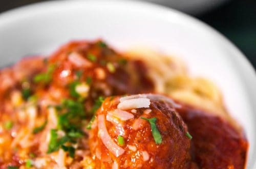 Plate of spaghetti and meatballs, one example of an family dinner idea.
