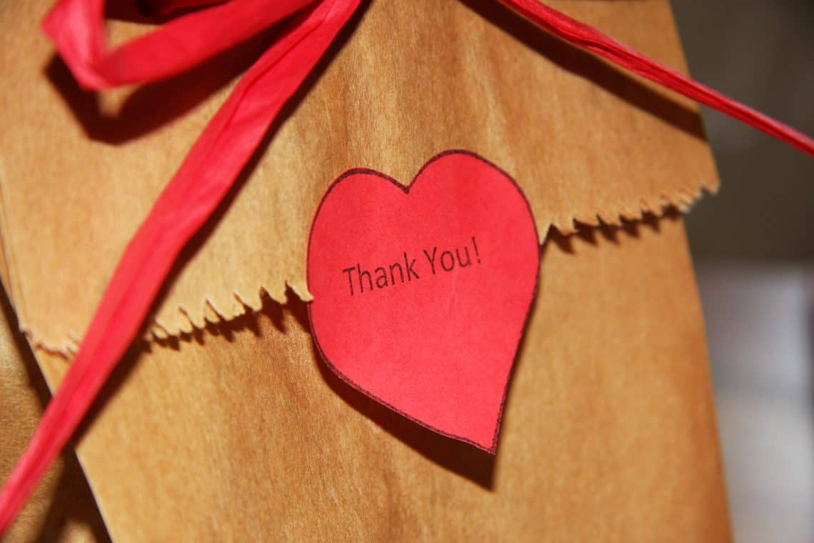 Thank you bag with heart for teacher gift