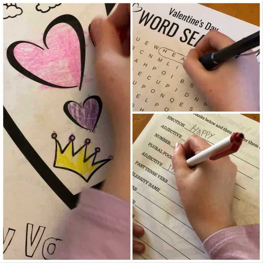 Child completing free Valentine's Day printables