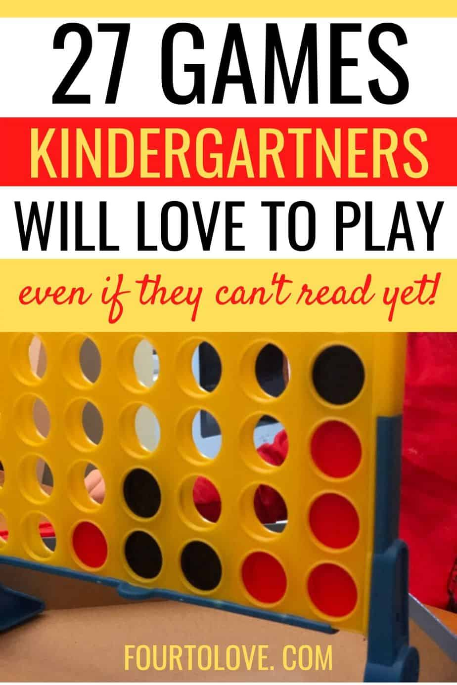 Kindergartner playing the game Connect 4