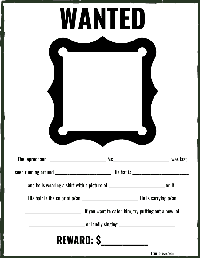 Printable St. Patrick's Day activity sheet for kids