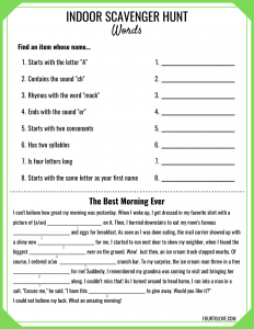Indoor scavenger hunt for kids with prompts about words and reading skills.