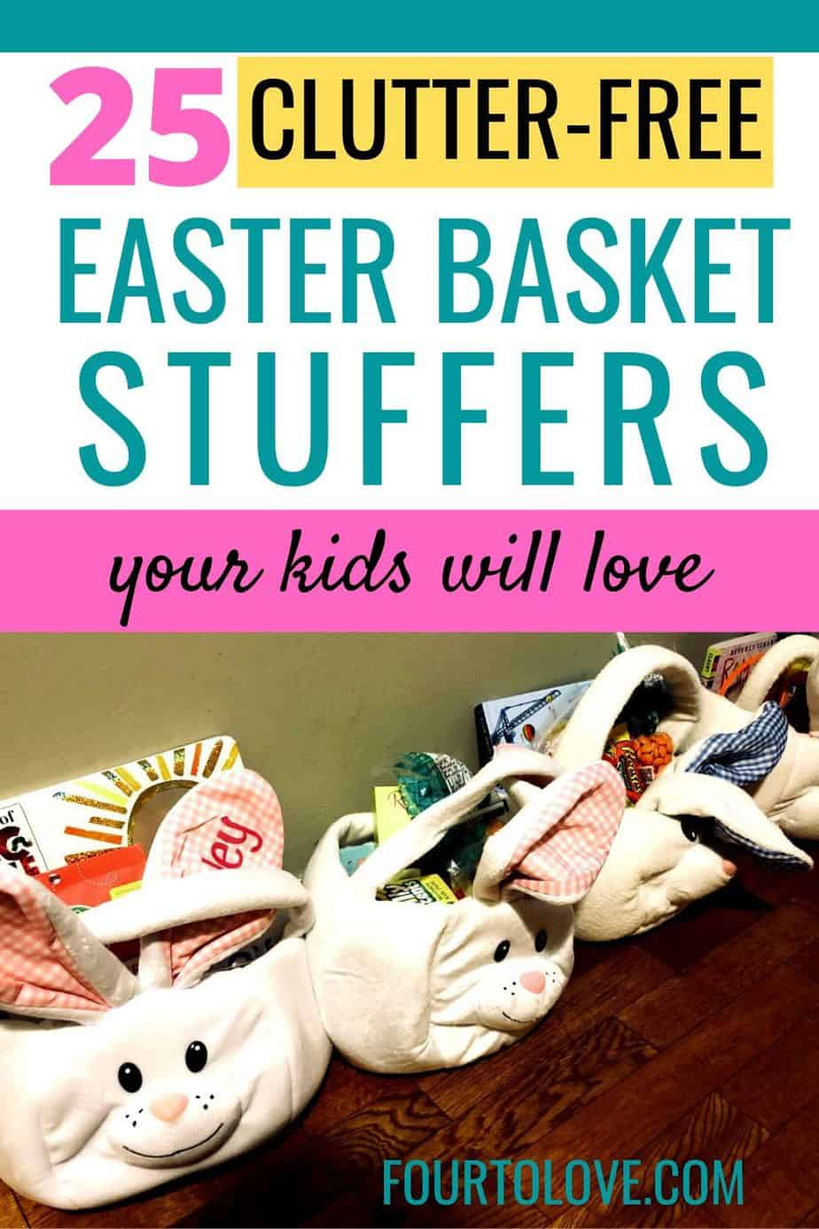Four Easter baskets filled with Easter basket stuffers