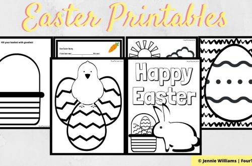 6 printable Easter coloring pages displayed on a banner