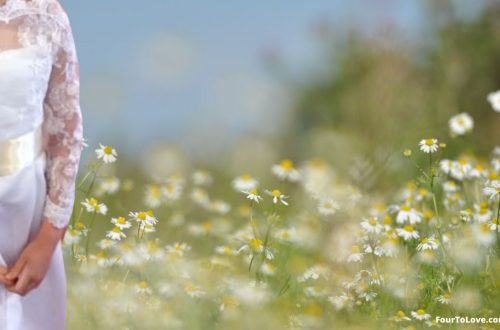 Girl in First Communion dress in field of flowers